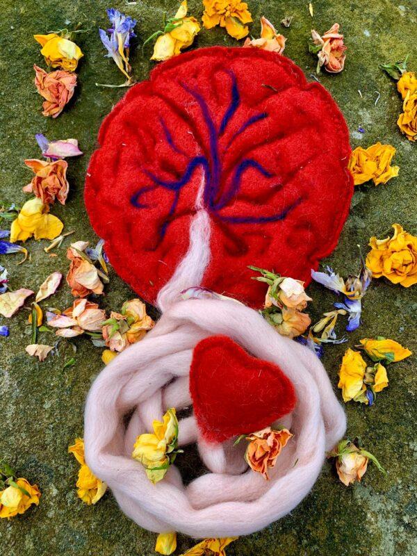 Symbolická Plstěná Placenta Pro Placentový Rituál – Sytě červená